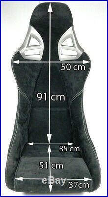 2 Charbon Sièges Sport dans 997-GT3-LOOK Alcantara Noir + Kit de Montage