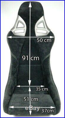 2 Charbon Sièges Sport dans 997-GT3-LOOK Cuir Noir, Couture Blanche Charbon