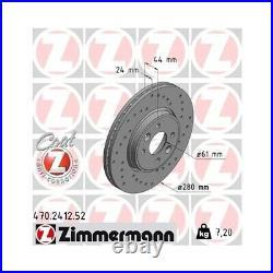 2 Disque de frein ZIMMERMANN 470.2412.52 DISQUE DE FREIN SPORT COAT Z