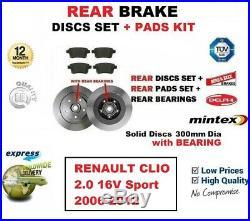 Pour Renault Clio 2.0 16v Sport 2006-2012 Arrière Plaquettes Frein + Disques